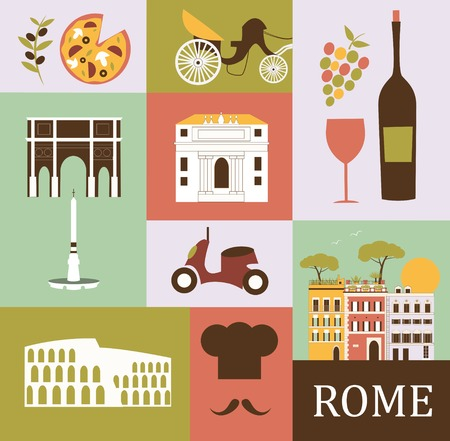 pizza place: Symbols of Rome.Italy. Vector