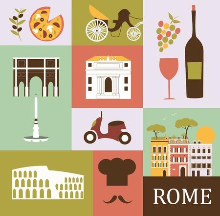 italian tradition: Symbols of Rome.Italy. Vector