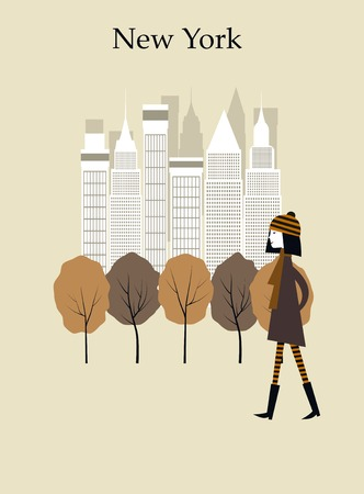 sky scrapers: Woman walking in the park in New York. Vector Stock Photo