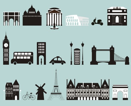 tower house: Silhouettes of famous cities. Vector Stock Photo