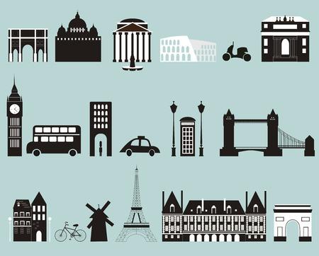 line art: Siluetas de ciudades famosas. Vector Foto de archivo