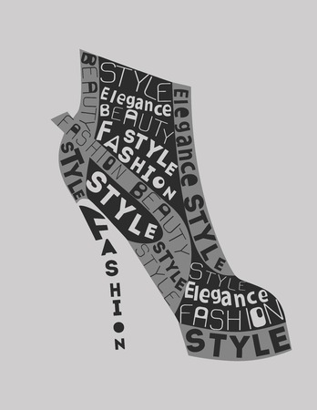 boutique display: Fashion Woman  Shoe from words. Vector