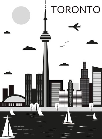 toronto: Toronto Canada in black and white colors. Vector