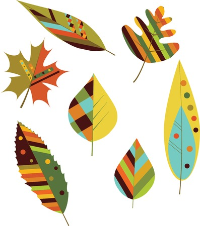 Set of seamless colorful autumn leaves. Vector 스톡 콘텐츠