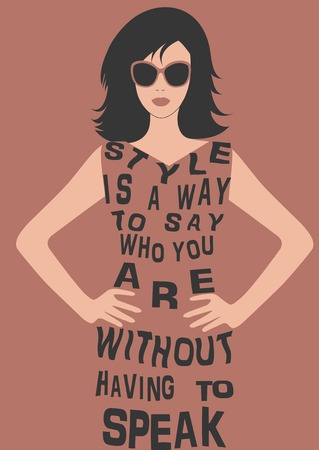 Fashion Woman in dress from Quote. Vector