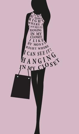 chicas comprando: Vestido de mujer de moda hecha de cotizaci�n. Vector