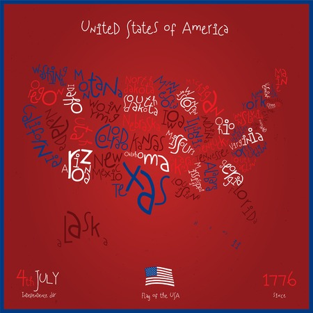 Typography USA Map With States Vector photo