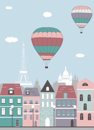 Hot air balloons over the Paris. Vector photo