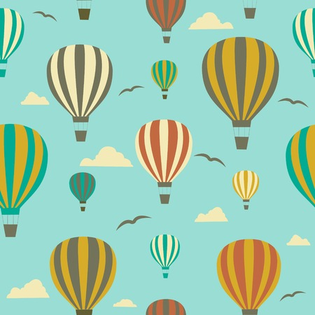 Seamless background with hot air balloons.Vector photo
