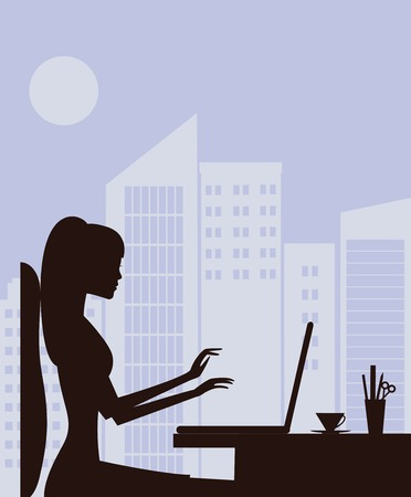 Silhouette of woman working on laptop. Vector