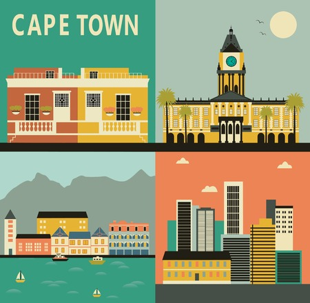 capetown: Cape town city made from different parts. Vector