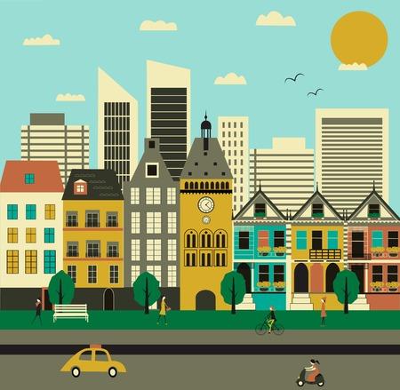 block of flats: City life. Vector Stock Photo