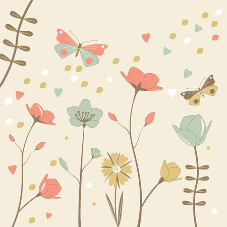 Flower background with butterflies. Vector Stock Photo