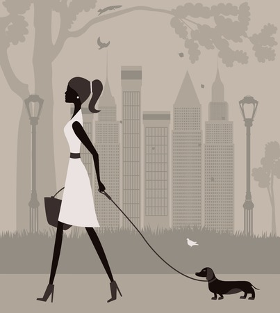 uptown: Woman walking with a dog in the park. Vector Stock Photo