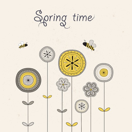 batterfly: Spring decoration with flowers,  batterfly and  bee. Vector