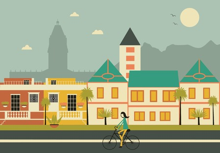 penthouse: Woman on bicykle in Cape town city.  Vector