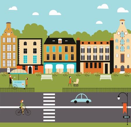 arbol geneal�gico: Ilustraci�n de la vida de la ciudad. Vector