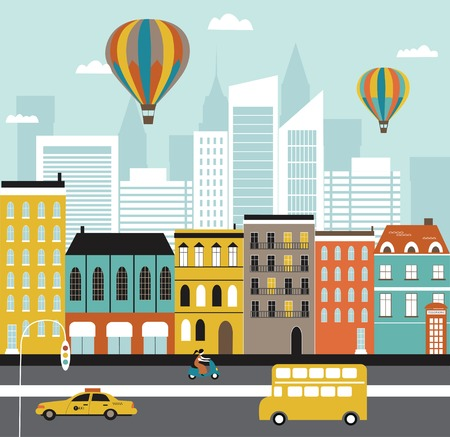 city building: City street. Vector