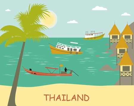 breezy: Thailand.Tropical  beach with boats. Vector Stock Photo