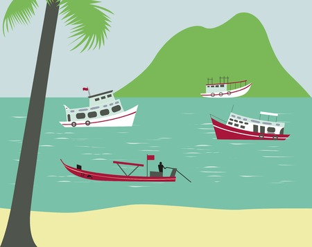 Boats on tropical beach in Thailand. Vector Stock Photo