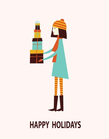 february 1: Girl with gift boxes. Christmas and New year greeting card. Vector