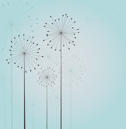 overblown: Decoration with seamless dandelions. Vector Stock Photo