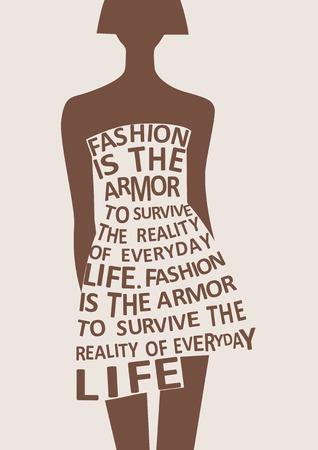 Silhouet van mode vrouw in jurk van woorden. Vector Stockfoto