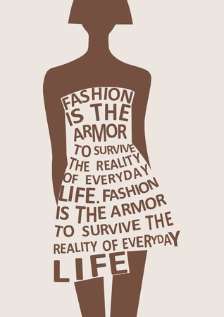 fashion vector: Silhouette of fashion  woman in dress from words. Vector