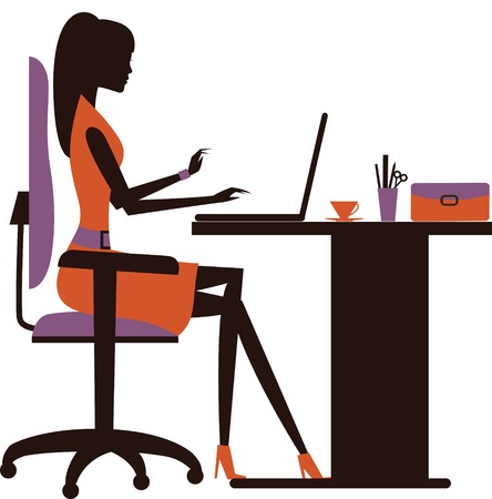 Silhouette of  business woman working on laptop. Vector 스톡 콘텐츠