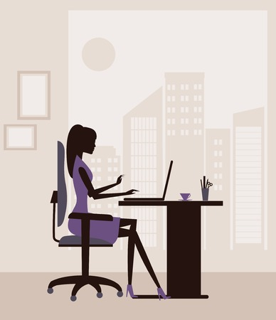cybercafe: Woman  working on  laptop at the office. Vector