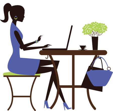 cybercafe: Woman with laptop in the cafe. Vector