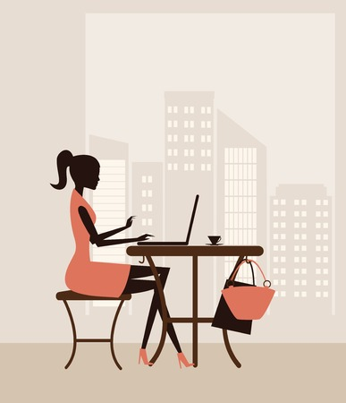 cybercafe: Illustration of a young woman working on laptop. Vector