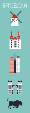 sky scrapers: Set of Barcelona city symbols. Travel illustration Stock Photo