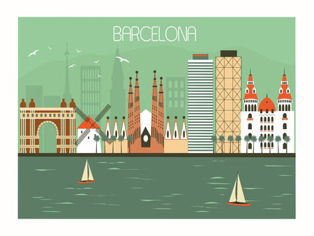 Barcelona city in  Spain. Travel illustration in bright colors 스톡 콘텐츠