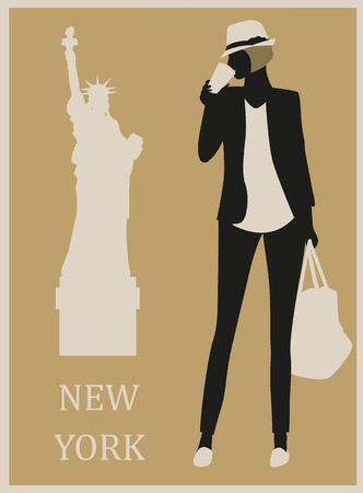 Fashion  beautiful Woman in New York USA.