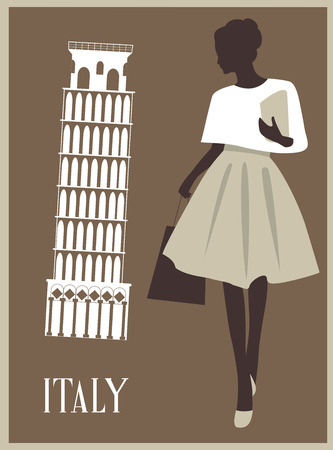 Stylized Fashion Woman in Italy. Travel illustration 스톡 콘텐츠