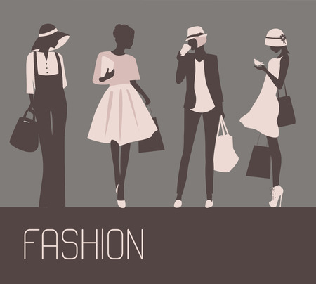 Silhouettes of stylized Fashion beautiful women with bags