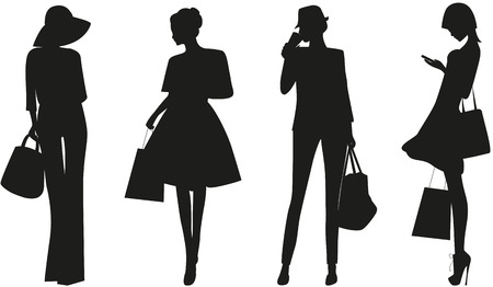 Black silhouettes of Fashion women on white background.