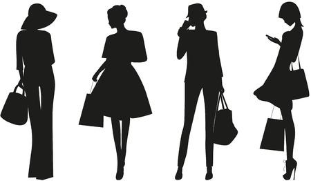 Black silhouettes of Fashion women on white background.