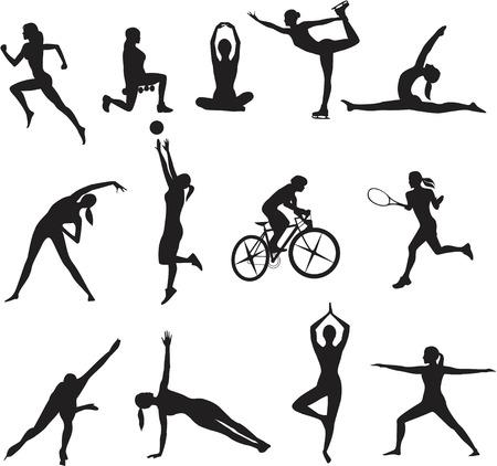 gimnasia aerobica: Las mujeres en diferentes tipos de deportes en el fondo blanco