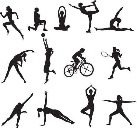 aerobics: Women in different kinds of sports on white background