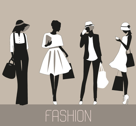 Silhouettes of stylized Fashion pretty women shopping