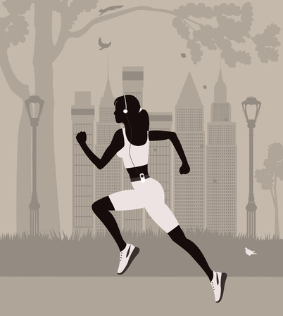 central park: Running woman in the park in  New York. Vector