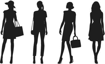 白い背景の上のファッションの女性のシルエット。ベクトル