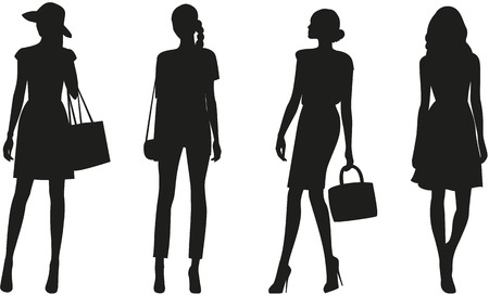 dresses: Silhouettes of fashion women on white background. Vector Stock Photo