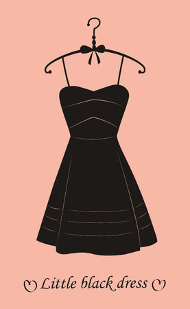 little black dress: Little black dress on pink background. Vector