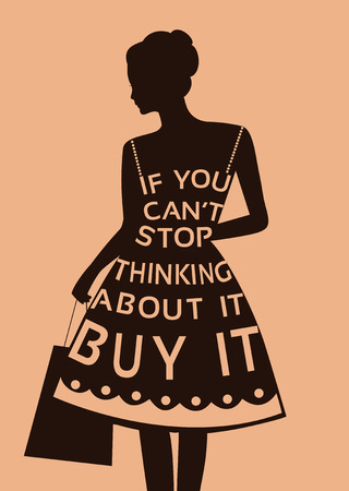 boutique display: Fashion woman in dress made from  quote. Stock Photo