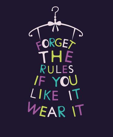 時尚: 風格化的時尚女性裝扮的報價。矢量