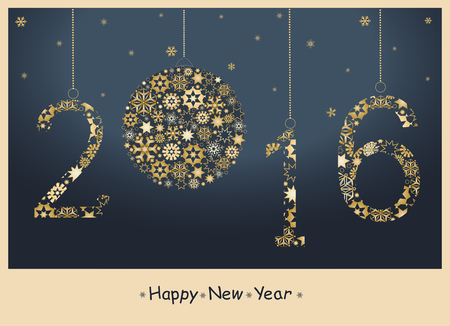 greetings from: 2016 Happy New Year greeting card from golden snowflakes. Vector