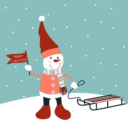 sled: Snowman with sled. Christmas  decoration. Vector Stock Photo